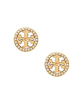 Tory Burch - Crystal Circle Logo Stud Earrings