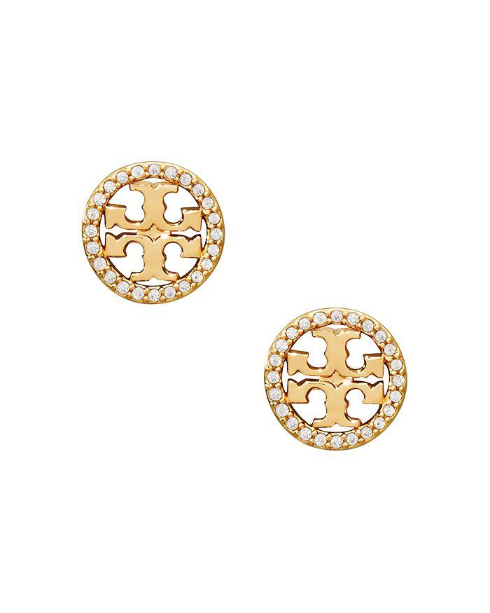 Tory Burch - Crystal Circle Logo Stud Earrings