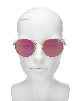 Quay - Women's Outshine Brow Bar Round Sunglasses, 50mm