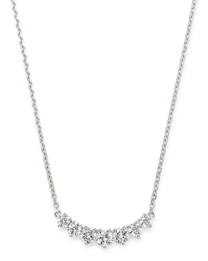 Bloomingdale's - Diamond Graduated Bar Necklace in 14K White Gold, 2.75 ct. t.w. - 100% Exclusive