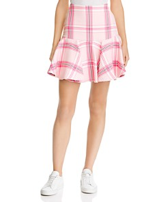 MILLY - Plaid Flounced Skirt