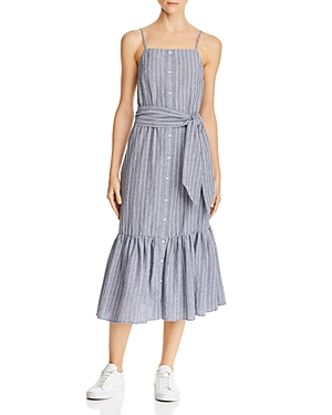 The Fifth Label PIXEL STRIPED BELTED MIDI DRESS