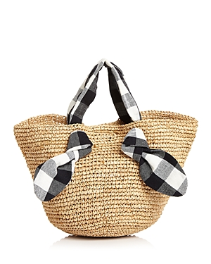 781134716b5 Hazel Checkered Tie Straw Tote in Natural/Black/White