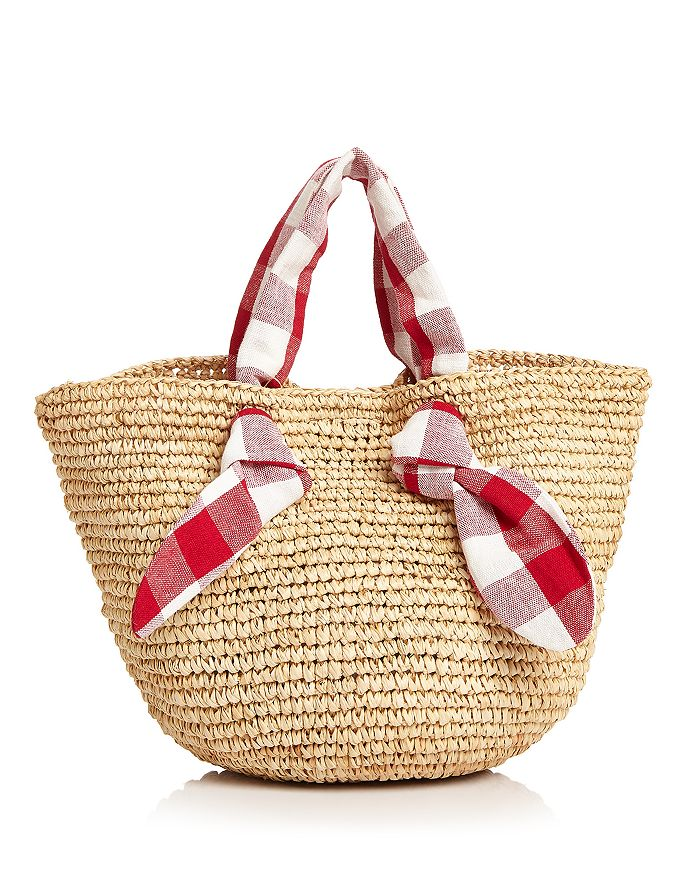 Loeffler Randall - Hazel Checkered Tie Straw Tote