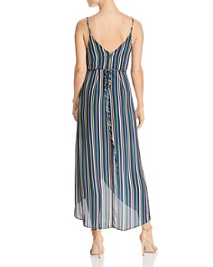 AQUA - High/Low Striped Faux-Wrap Dress - 100% Exclusive