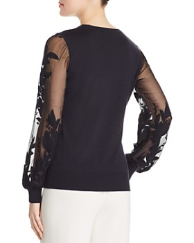 Elie Tahari - Waneta Embroidered Sleeve Sweater