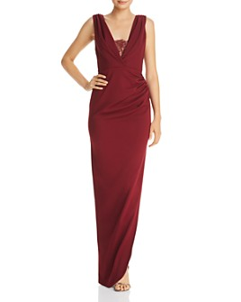 Katie May - Lace-Inset Crepe Gown