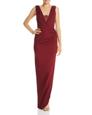 KATIE MAY Lace-Inset Crepe Gown in Bordeaux
