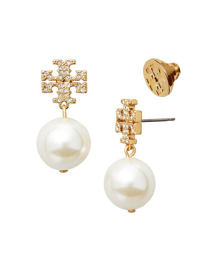 0e6d67f7e Tory Burch Crystal Logo & Simulated Pearl Drop Earrings   Bloomingdale's