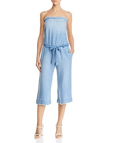 Bella Dahl - Frayed Strapless Chambray Jumpsuit