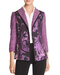 Misook - Brocade Panel Open-Front Jacket