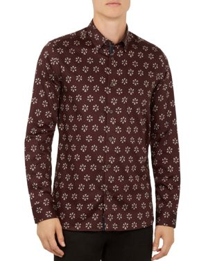 Ted Baker Geo-Floral Slim Fit Button-Down Shirt