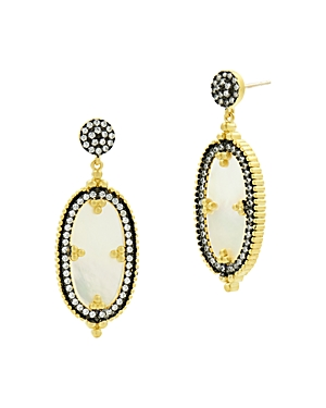 Freida Rothman Imperial Oval Drop Earrings in Black Rhodium-Plated Sterling Silver & 14K Gold-Plated Sterling Silver
