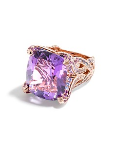 JOHN HARDY - 18K Rose Gold Cinta Collection One-of-a-Kind Amethyst Modern Chain Ring with Multi Stone & Brown Diamond - 100% Exclusive