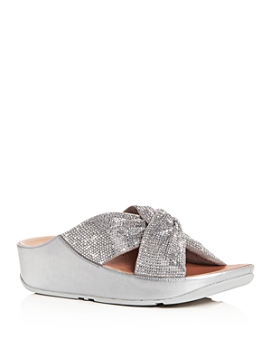 Fitflop FITFLOP WOMEN'S TWISS CRYSTAL PLATFORM WEDGE SLIDE SANDALS