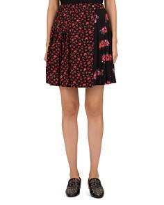 The Kooples - Pleated Floral Silk Wrap Skirt