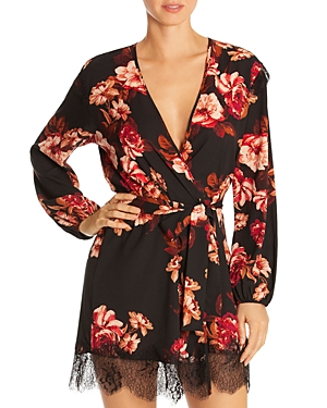 Midnight Bakery Lace Trim Floral Wrap Robe