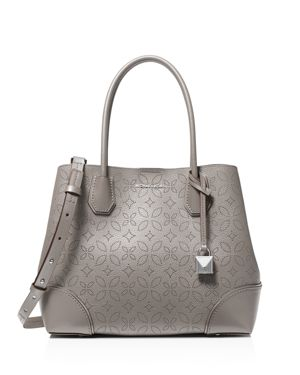 Mercer Gallery Medium Perforated Leather Tote Bag in Pearl Gray/Silver