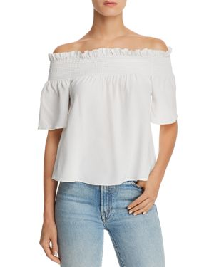 7 For All Mankind Off-the-Shoulder Silk Top