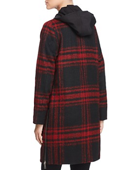 VINCE CAMUTO - Hooded Plaid Coat