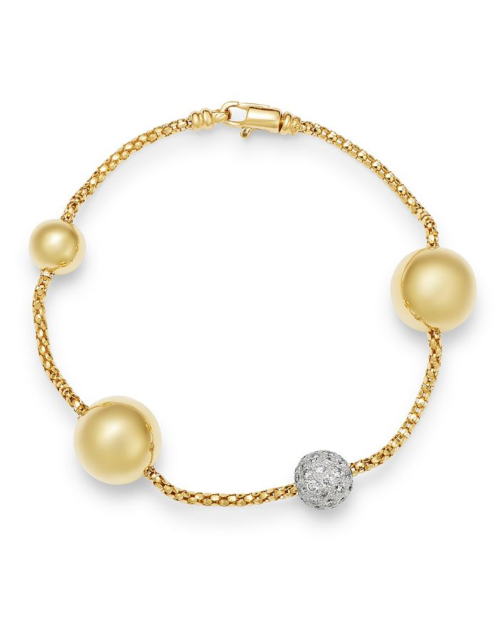 Bloomingdale's Diamond Beaded Bracelet In 14K Yellow Gold, 1.1 Ct. T.W. - 100% Exclusive In White/Gold