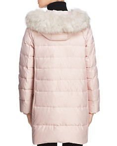 kate spade new york - Faux Fur Trim A-Line Puffer Coat