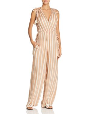 COOLCHANGE Taryn Striped Jumpsuit Swim Cover-Up in Cafe