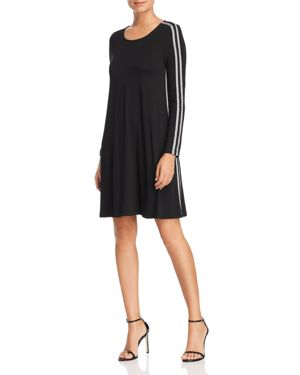 Robert Michaels Long-Sleeve Varsity Stripe Dress in Black