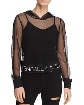 88f7df327bc Kendall + Kylie - Sheer Mesh Hooded Sweatshirt ...