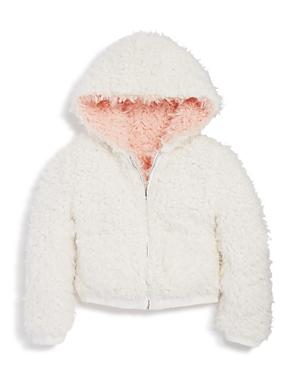 Bardot Junior Girls' Reversible Sherpa Zip Hoodie Jacket - Big Kid