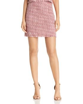AQUA - Fringed Tweed Skirt - 100% Exclusive
