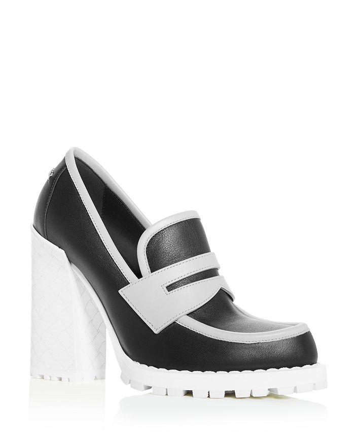 Bottega Veneta Women's High Block-Heel Loafers In Nero Multi