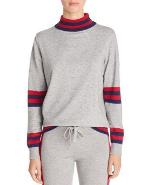 AQUA Madeleine Thompson X Aqua Striped Detail Sweater - 100% Exclusive in Heather Gray/Navy/Red