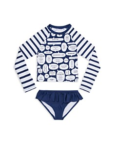 kate spade new york - Girls' Speech-Bubble Rashguard 2-Piece Swimsuit - Little Kid