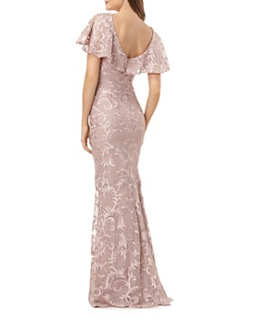 Carmen Marc Valvo Infusion - Embroidered Flutter Sleeve Gown