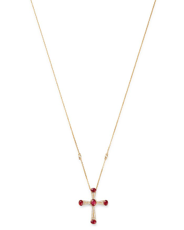 0f9af4bb0a48 Bloomingdale s - Ruby   Diamond Cross Pendant Necklace in 14K Yellow Gold