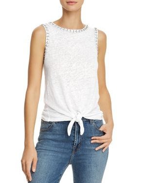 Generation Love Phoebe Embellished Tie-Front Linen Top