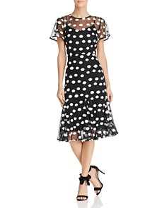 nanette Nanette Lepore - Short Sleeve Dot-Embroidered Mesh Dress