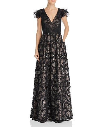 Aidan Mattox - Sequin Embroidered Ruffle Sleeve Gown