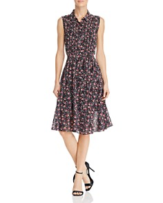 nanette Nanette Lepore - Sleeveless Floral Print Shirt Dress