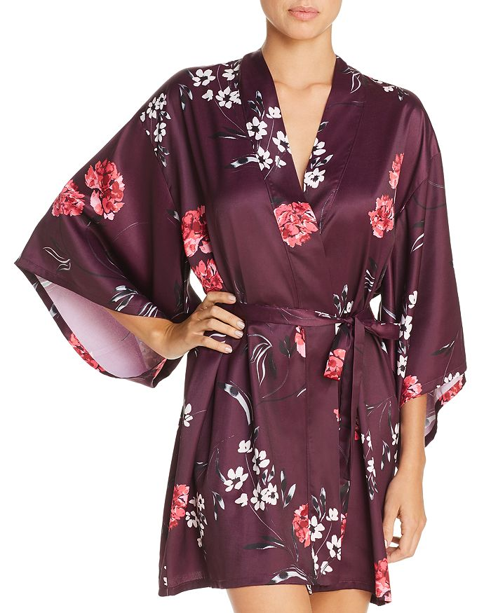 Josie - Freestyle Floral Print Satin Short Robe
