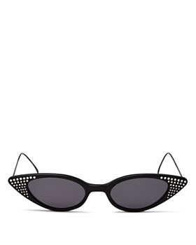 Illesteva - Women's Marianne Embellished Slim Cat Eye Sunglasses, 48mm