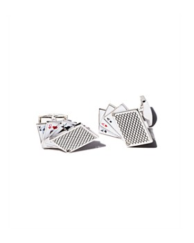Tateossian - Rhodium Odd Pair Card Cufflinks