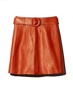 Sandro - Aubin Seamed Leather Mini Skirt