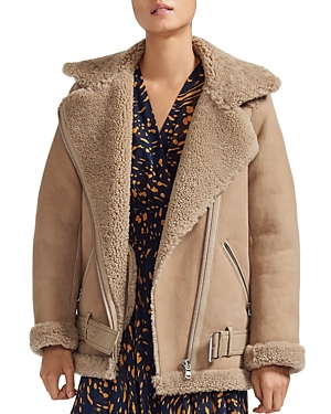 Maje Gombery Real Sheep Shearling Detail Moto Jacket