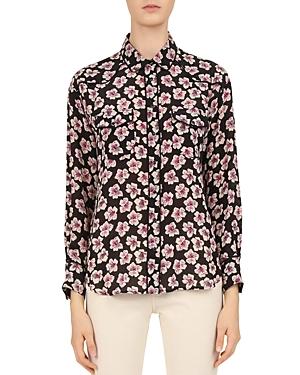 Gerard Darel Floral-Print Silk Shirt