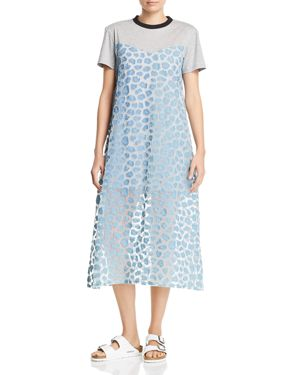 KSENIA SCHNAIDER Layered-Look Mixed-Media Dress in Denim/Leopard