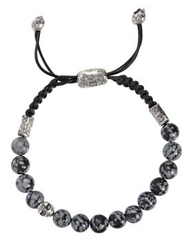 John Varvatos Collection - Sterling Silver Skull & Gray Obsidian Bead Adjustable Bracelet