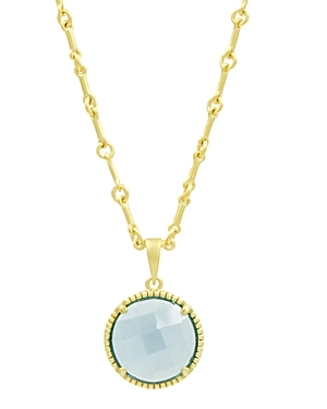 Freida Rothman Imperial Blue Single Stone Pendant Necklace in 14K Gold-Plated Sterling Silver, 16