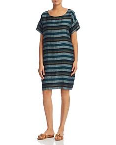 Eileen Fisher Petites - Striped Organic Linen Shift Dress